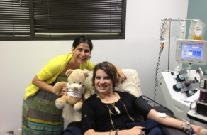 Sarah donating platelets for Patricia's baby