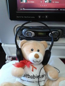 Listening to the inflight entertainment