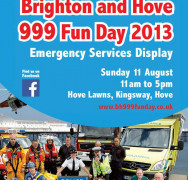 Not long until Brighton and Hove 999 Emergency Services Fun Day…11 August!!!
