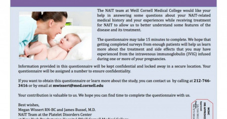 Neonatal Alloimmune Thrombocytopenia NAIT Study Survey 2013+